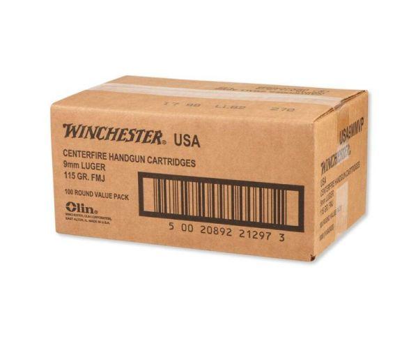 Winchester Centerfire Handgun Brass 9mm 115-Grain 1000-Rounds FMJ
