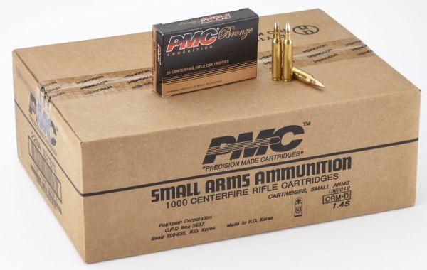 PMC Ammunition Bronze .223 Rem 55 Grain Full Metal Jacket Boat Tail Brass- 1000Rds - Full Case