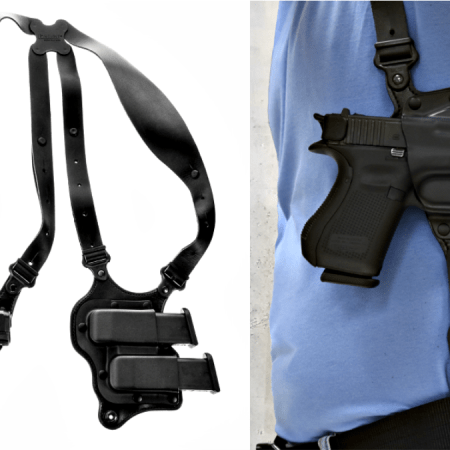 The Galco Parabellum Shoulder Holster System is made for horizontal orientation carry of modern semi-automatic pistols.