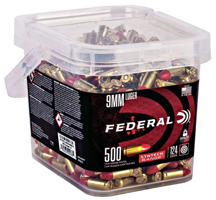 Federal 9mm luger Syntech range ammo buckets