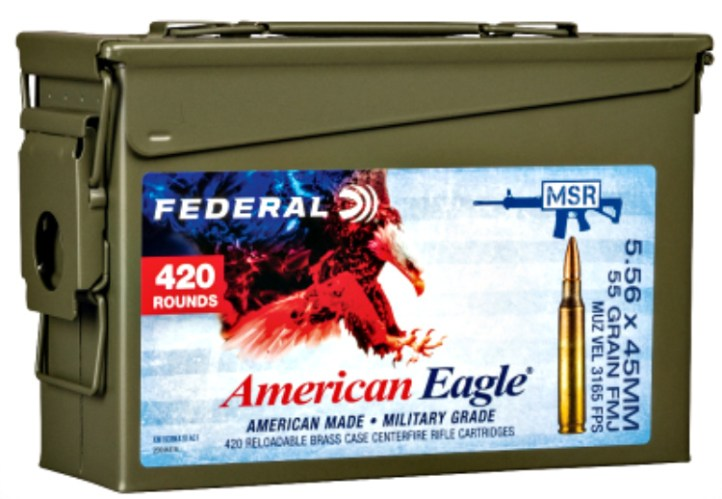 New MSR Ammo Cans from Federal Ammunition. Available in 223 Rem. and 5.56x45mm 55-grain or 5.56x45mm 62-grain, the three new offerings hold 420 rounds.