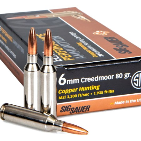 Sig Sauer's new 6mm Creedmoor Elite Copper Hunting Ammunition for medium-sized game.