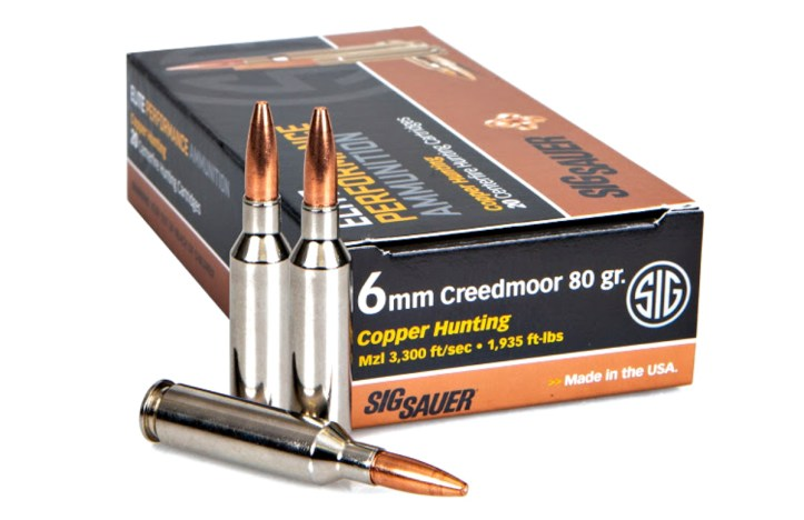 6mm Creedmoor Elite Copper Hunting Ammunition for medium-sized game.