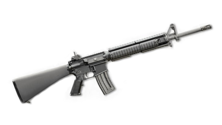The M16A4 is chambered to fire the 5.56x45mm (.223) NATO cartridge.