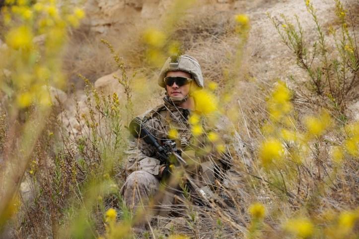 US Marine in MARPAT camo - desert setting.