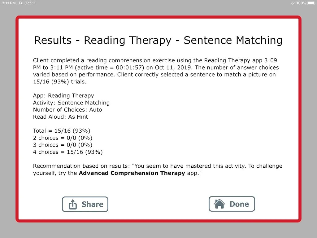 Reading Therapy App With Sentence Exercises