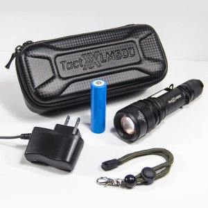 LM500 Power Kit B Tactical Flashlight - Includes DPI charger, 18650 Battery, Wrist Strap, and FREE Water Resistant Custom Case