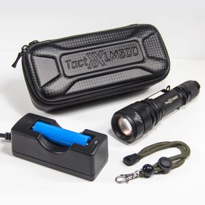 LM500 Power Kit A - Tactical Flashlight Kit with Outboard Charger, 18650 Lithium-Ion Battery, Outboard Charger, and FREE Carbon Fiber Storage Case