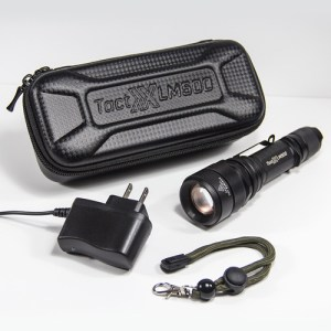 LM500 Power Kit D includes DPI Charger, Heavy-Duty Wrist Strap, and Free Case without the 18650 Battery