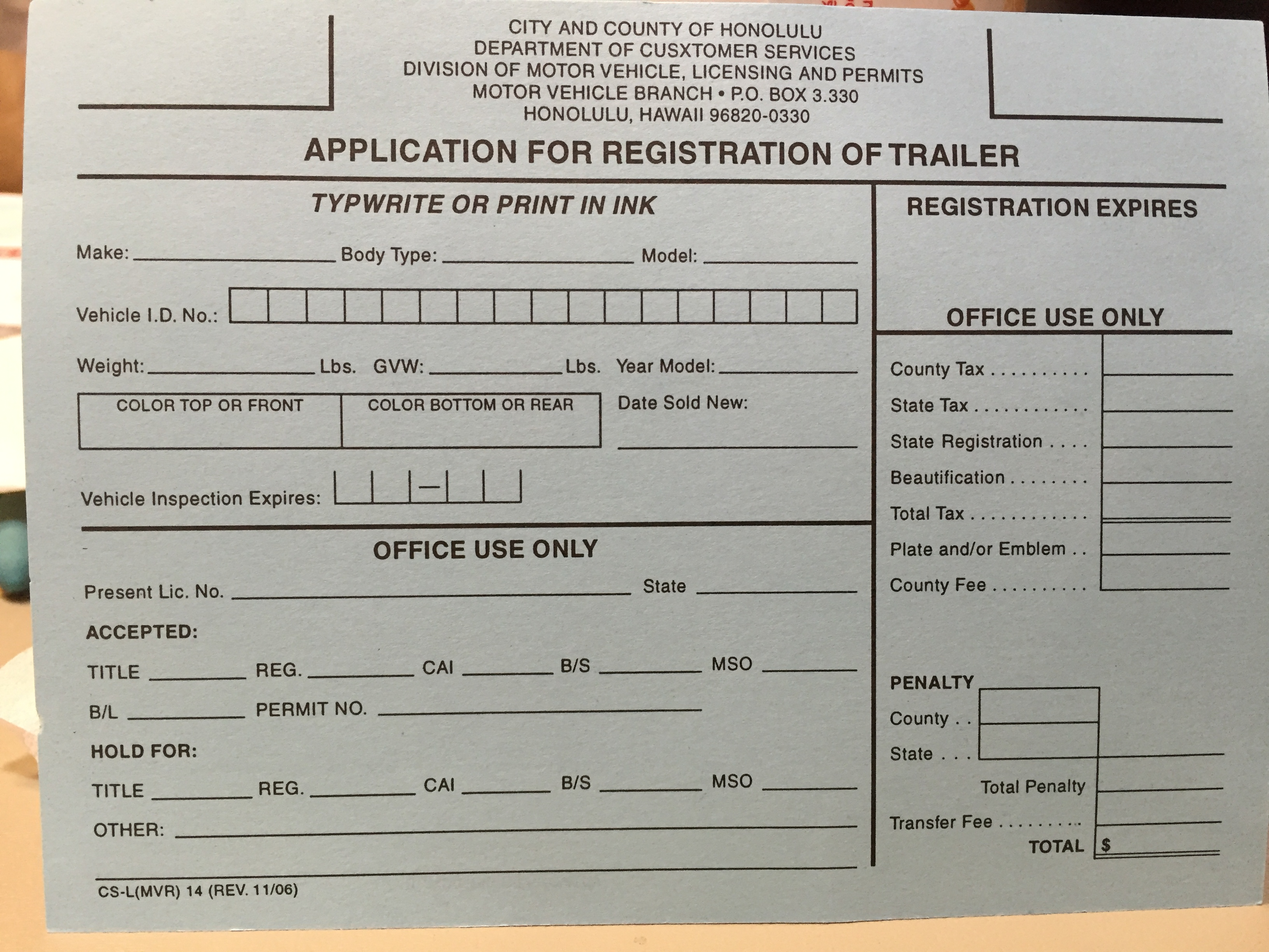 honolulu motor vehicle registration