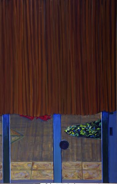 1977 15 01 Brauner Vorhang Öl auf Leinwand 250x160 1