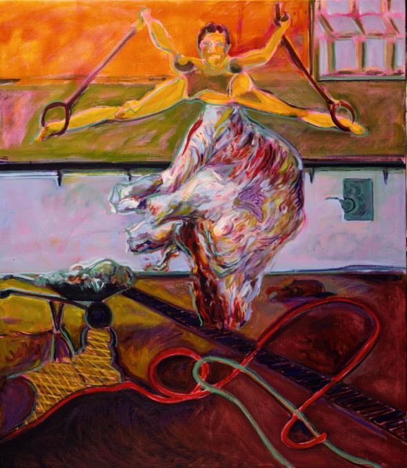 1986 01 11 Spagat mit Schubkarre S. Öl auf Leinwand 195x170 cm