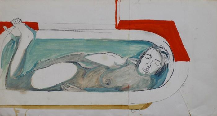 1968 01 01 Badewanne Graphite und Aquarell auf Papier 40x74 1