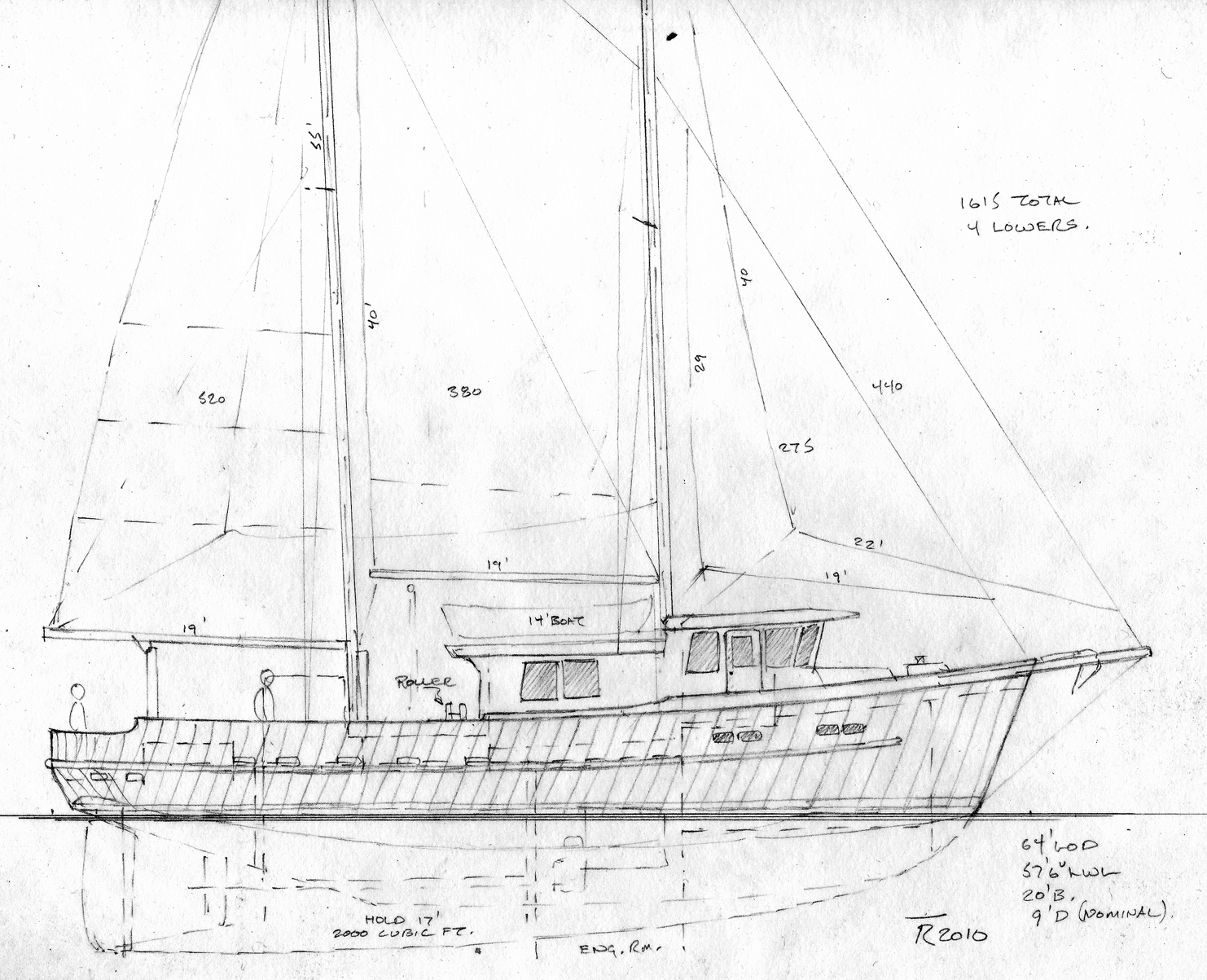 64' troller fishing schooner ~ Sail Boat Designs by Tad