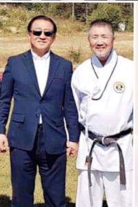 Evje 2019. Stormester Cho 9dan med sin egen mester. President Seung Wan Lee 10dan Jidokwan/Kukkiwon.