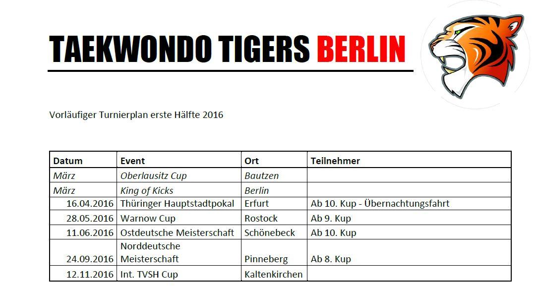Turnierplan Taekwondo Berlin 2016