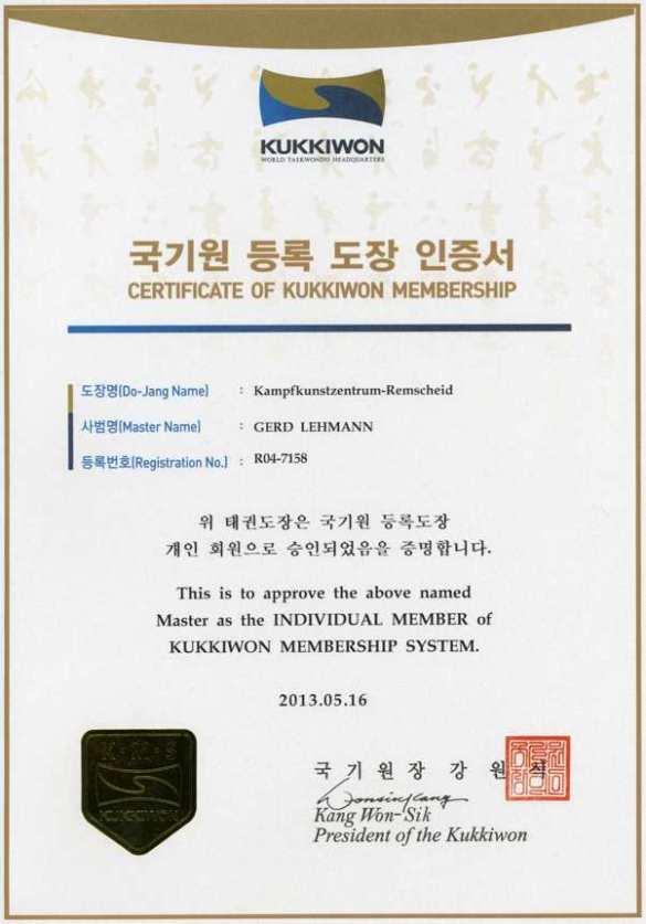 Kukkiwon Membership