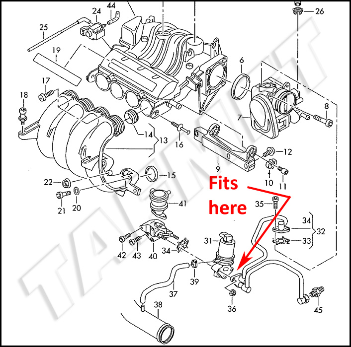 EGR valve blanking plate with gaskets for VW Audi Skoda