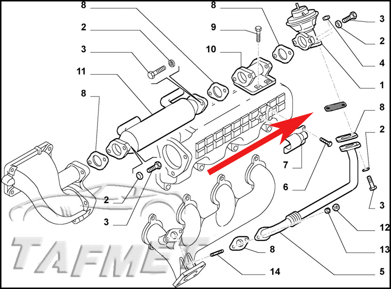 EGR valve blanking plate with gaskets for Fiat Ducato with
