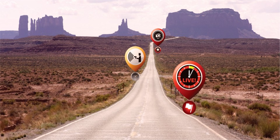 TagAcam driving in Monument Valley