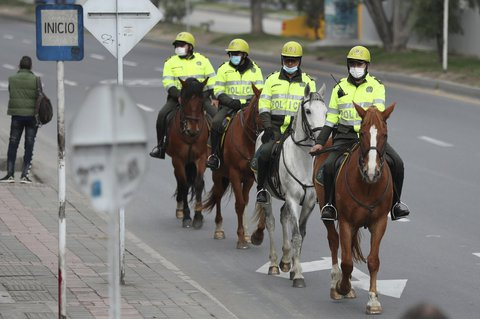 Horse riding: The Colombian police patrol on horses.