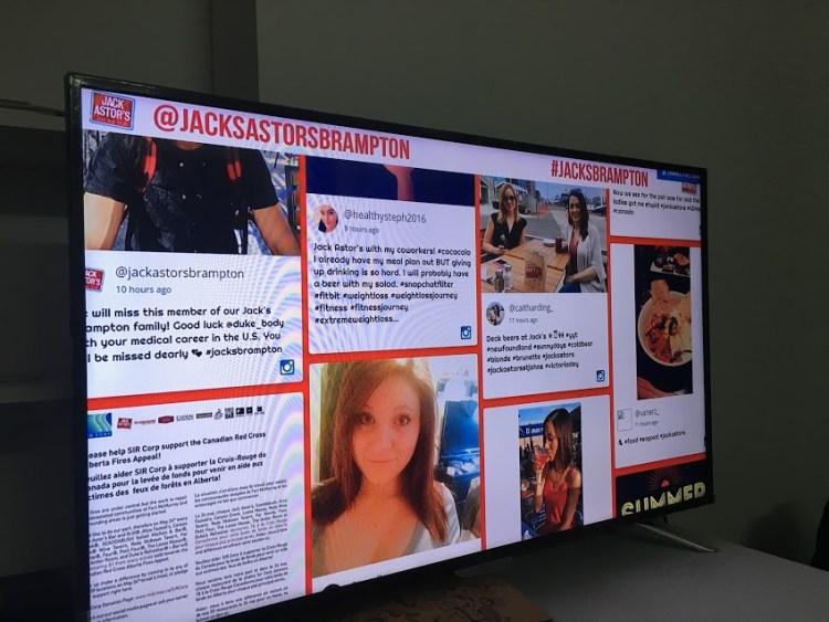 social wall on screen