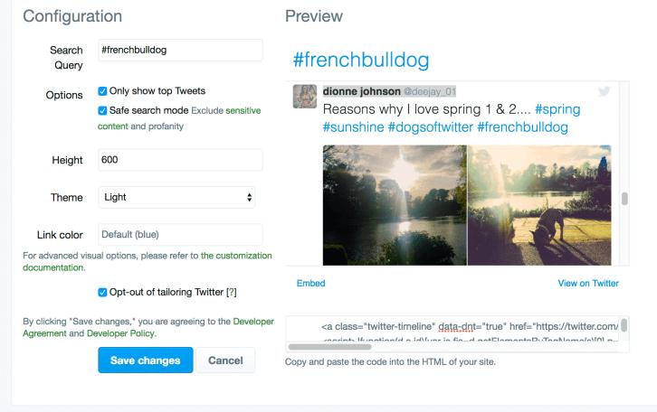 Twitter Embed Timeline Widget