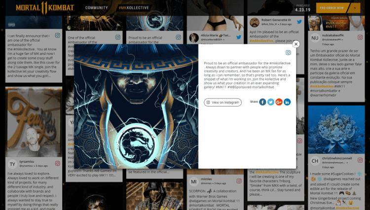 Mortal-Kombat-Social-Wall website