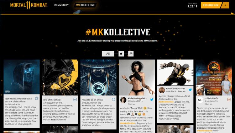 Mortal Kombat social media wall website