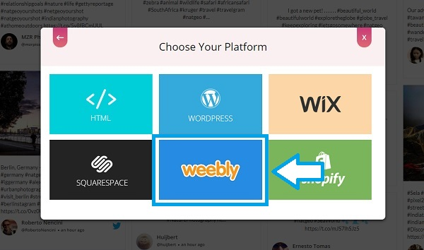 Choose embed platform Weebly