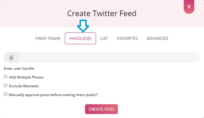 create twitter feed via handle