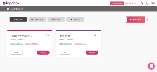 Taggbox Social Wall Dashboard create wall