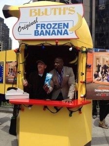 "Ron Howard and actor Terry Crews promote ""Arrested Development""  in the iconic Frozen Banana Stand on the streets of New York earlier this month."