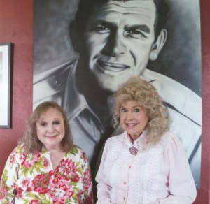 Betty Lynn and Donna Douglas at the Andy Griffith Museum.  Wellllll, doggies, they're the cat's!  Photo by Hobart Jones.