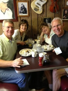 """Neil and Pat Coleman (left) of """"Remembering Mayberry"""" with Jan and LeRoy McNees and the remainders of lunch at Dotson's in Franklin, Tenn. (The cafe was also a favorite lunch spot of George Lindsey, who first started eating there while in college in Florence, Ala., in  the early 1950s.)"""