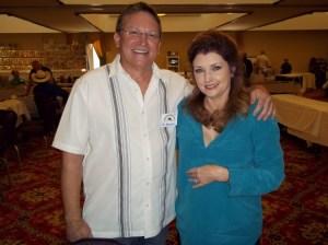 Phil Barnard is all smiles meeting Morgan Brittany in Winston-Salem.