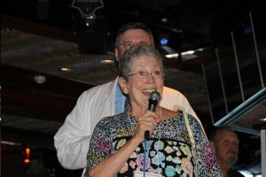 Jackie Joseph spreading good cheer on the Mayberry Cruise.  Photo by Jan Newsome.