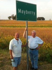 The exit says 'Wayne City' but the station owner explained that years ago a small community named Mayberry was annexed by Wayne City. The residents were, and still are, unhappy about it so they maintain a Mayberry city limit sign.