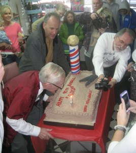 Russell Hiatt making a wish!  (We think maybe it already came true...only one candle to blow out instead of 90!)