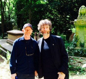 """""""WE WANT A GHOST STORY!""""--Ron Howard tweeted this photo of himself with writer Neil Graiman, touring graveyards in London earlier this month."""