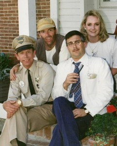 "Jan and Allan Newsome (right) with Mayberry nuts Phil Lee (back left) and David Browning at the Mayberry Squad Car Rendezvous...""a few years ago."""
