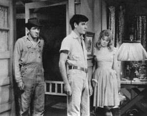 """Jimmie in """"The Jar,"""" a 1964 episode of """"The Alfred Hitchcock Hour with George Lindsey (right) and Collin Wilcox."""