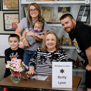Betty Lynn with two generations or fans (and a napper) at the Andy Griffith Museum in April. Photo by Hobart Jones.