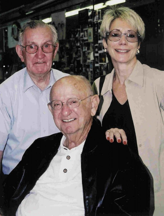 MAESTROS--Russell with Mayberry music man Earle Hagen and wife Laura during Mayberry Days 2004.
