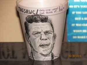 """SOLO CUP--This koozie-capable cup, rendered by cozy artist Art Cozart is (to our knowledge) the first and so far only officially commissioned TAGSRWC chapter artwork to be created using a styrofoam cup (or any cup, for that matter) as the canvas for the actual art. Art created this art for """"Only One Word I Can Think of...Big!"""" chapter of Mint Hill, N.C. (Other examples of Art's Mayberry cup art can be viewed at the Andy Griffith Museum."""