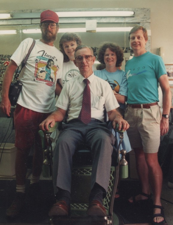 REIGNING SURPREME--Russell with Shelton and Wanda Fields (left) of Barney chapter and friends at an early 1990s Mayberry Days.