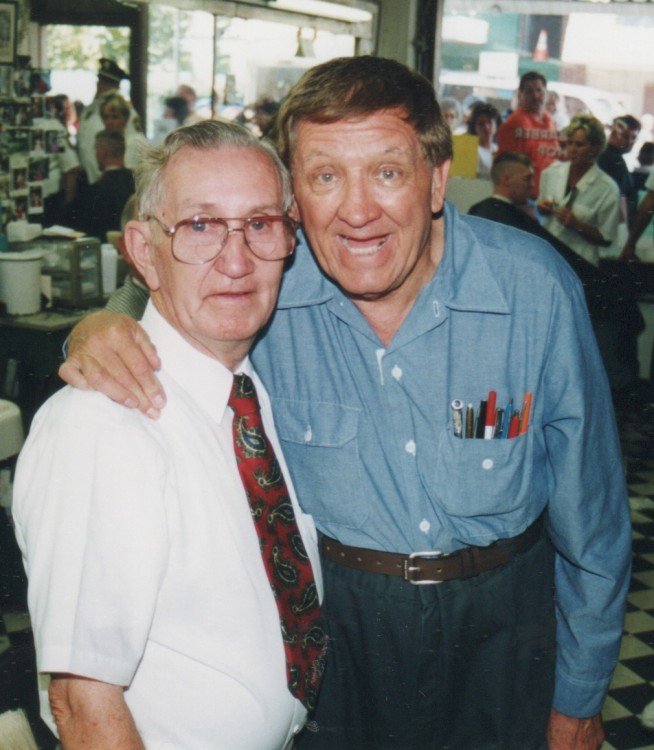 GOOB PALS--Russell with George Lindsey at the barbershop during Mayberry Days 1999.