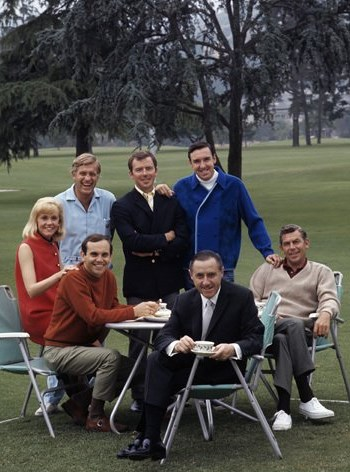 CAREERS ON COURSE--Dick enjoying a cup of coffee at Lakeside Country Club, is surrounded here by stars with Mayberry connections that he managed. Counterclockwise, starting with Dick seated in front, are Ronnie Schell, Maggie Peterson, Jerry Van Dyke, Ken Berry, Jim Nabors and Andy Griffith.