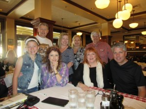 MAYBERRY GOES HOLLYWOOD--Members of Mayberry chapter surround Morgan Brittany and Joy Ellison (both seated at center) during their lunch visit in Los Angeles in June.