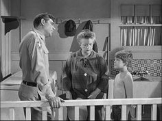 """SURE, IT'S HOT--But don't run around shirtless, """"like a naked savage."""" Cover up with a cool Mayberry T-shirt."""